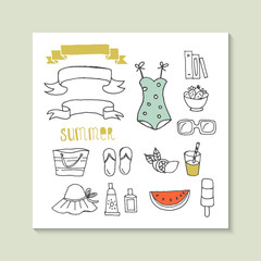 Hand drawing summer vector icons