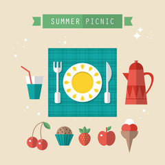 Flat modern icons for summer picnic concept
