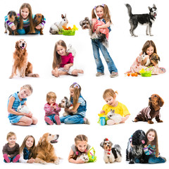 collection photos of young children with dogs and rabbits