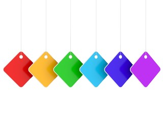 Six colored blank hanging labels