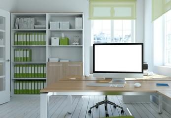 helles Büro mit Bildschirm