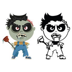 Zombie plumber in overalls with plunger in hand
