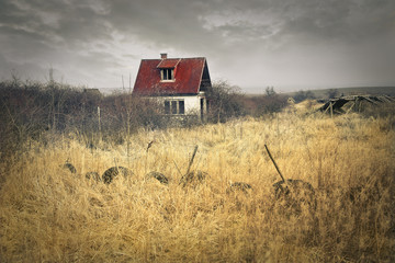 House in a grain field
