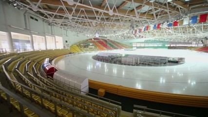 Panorama of ice arena at sports complex Krylatsky in Moscow