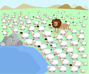 vector illustrator animal lion herd sheep lamb pond concept