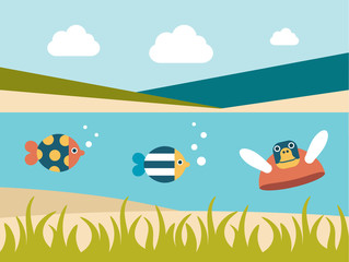 Summer beach. Sea cross section. Fishes and turtle.