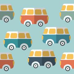 Bus, van repeat wallpaper pattern. Flat design.