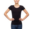 smiling woman in blank black t-shirt