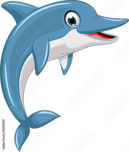 cute dolphin cartoon jumping - 80140399