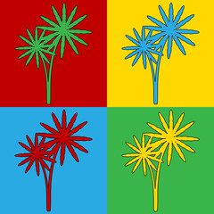Pop art palm symbol icons.