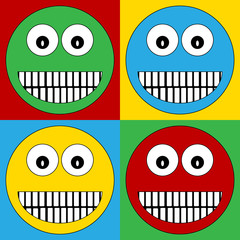 Pop art smile face symbol icons.