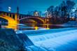Leinwanddruck Bild - Maximiliansbrücke in München bei Nacht