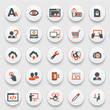 Color icons on white buttons. Flat design.