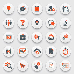 Color modern icons on white buttons. Flat design.