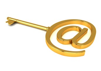 Gold key with e-mail symbol