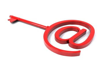 Red key with e-mail symbol