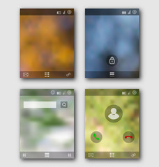 Mobile interface wallpaper design and icons. Blurred landscapes