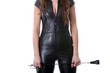 Domina with a whip in black (white background)