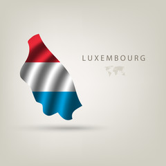 Flag of LUXEMBOURG as a country with a shadow