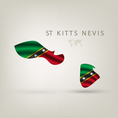 Flag of ST KITTS NEVIS as a country with a shadow