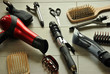 hairdressing tools on a wooden floor - 80145572