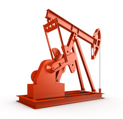 Red oil rig on isolated white background