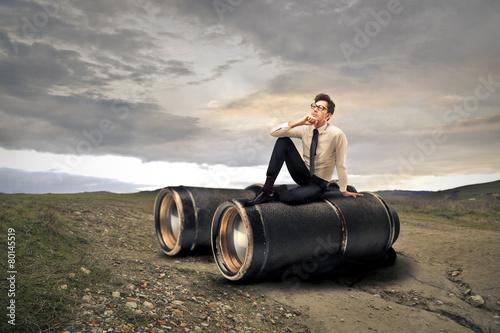Leinwanddruck Bild Giant binoculars
