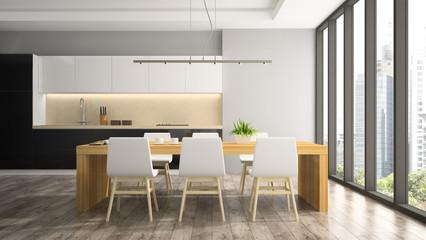 Modern interior of dining room 3D rendering