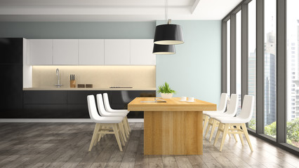 Modern interior of dining room with white chairs 3D rendering