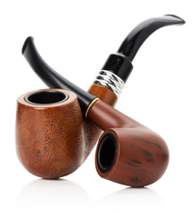 wooden smoking pipes isolated on the white background