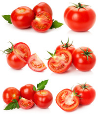 collection of tomatoes isolated on the white background