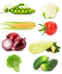 collection of vegetables isolated on the white background