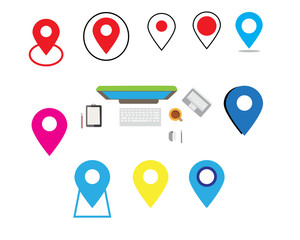Map icon and Location Icons and computer icon