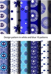 Design pattern in white and blue 10 patterns