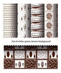 Sets pattern of green and white stripes