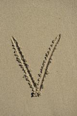 letter V sand alphabet