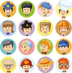 Набор векторных милый характер икон аватары