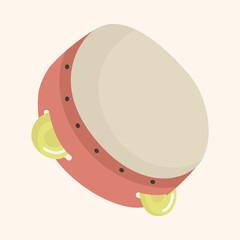 instrument tambourine cartoon theme elements