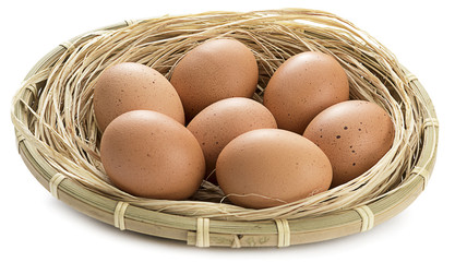 Organic Eggs in Basket