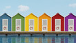 Beach cabins on wooden pier - 80148330