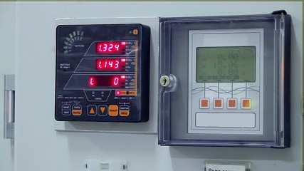 Digital indicators of a control cabinet at electrical substation