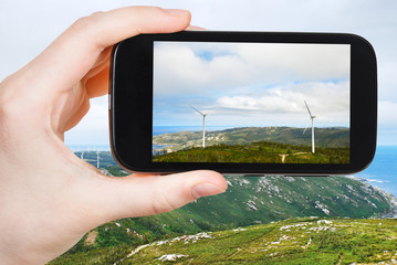 tourist photographs of wind turbines in Galicia
