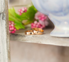 Two wedding rings. Love concept