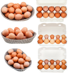 set of chicken eggs in containers and baskets