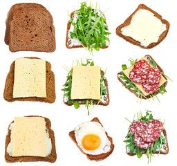 set of sandwiches from toasted brown bread