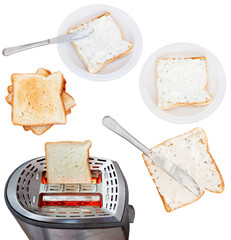 sandwiches from bread and soft cheese with toaster
