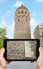 tourist photographs of Galata tower in Istanbul