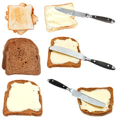 set of bread toasts with butter isolated