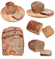 sliced wholegrain bread isolated on white