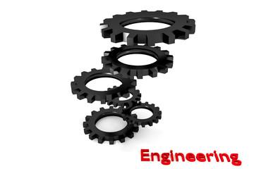tower of black colored metallic cogwheels hovering engineering